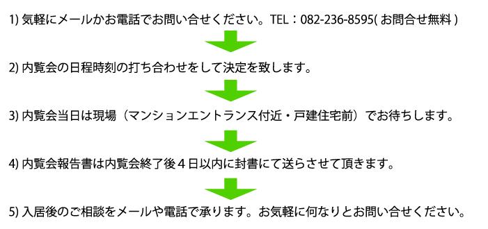 1) 気軽にメールかお電話でお問い合せください。TEL:082-236-8595 (お問合せ無料)2) 内覧会の日程時刻の打ち合わせをして決定を致します。3) 内覧会当日は現場(マンションエントランス付近・戸建住宅前)でお待ちします。4) 内覧会報告書は内覧会終了後4日以内に封書にて送らさせて頂きます。5) 入居後のご相談をメールや電話で承ります。お気軽に何なりとお問い合せください。